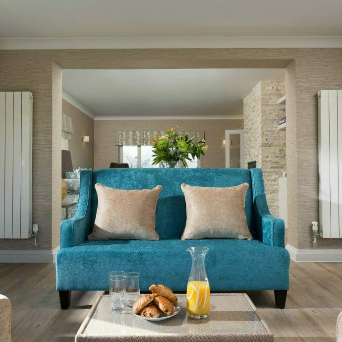 Bespoke Teal Blue Sofa in Conservatory in Polzeath.